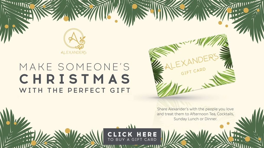 An advertisement image of Alexander's Christmas Gift Card